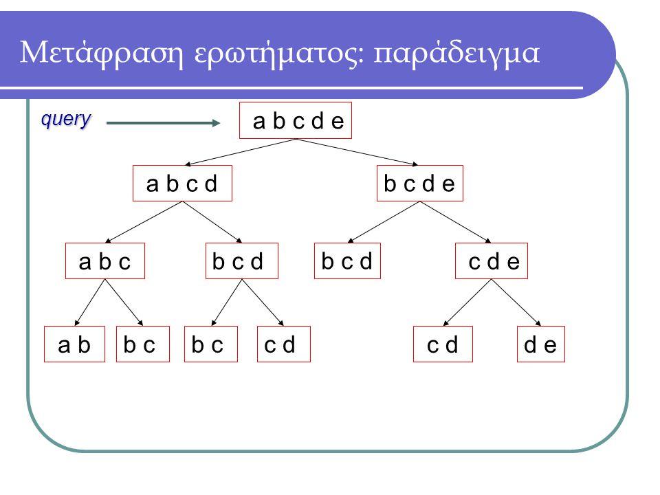 a b c d e b c d e a b c d b c d a b c c d e b c d a b b cc db c c dd e query Μετάφραση ερωτήματος: παράδειγμα