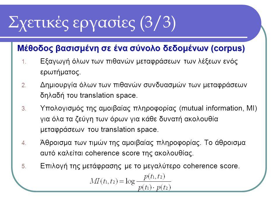 Σχετικές εργασίες (3/3) 1. Εξαγωγή όλων των πιθανών μεταφράσεων των λέξεων ενός ερωτήματος.