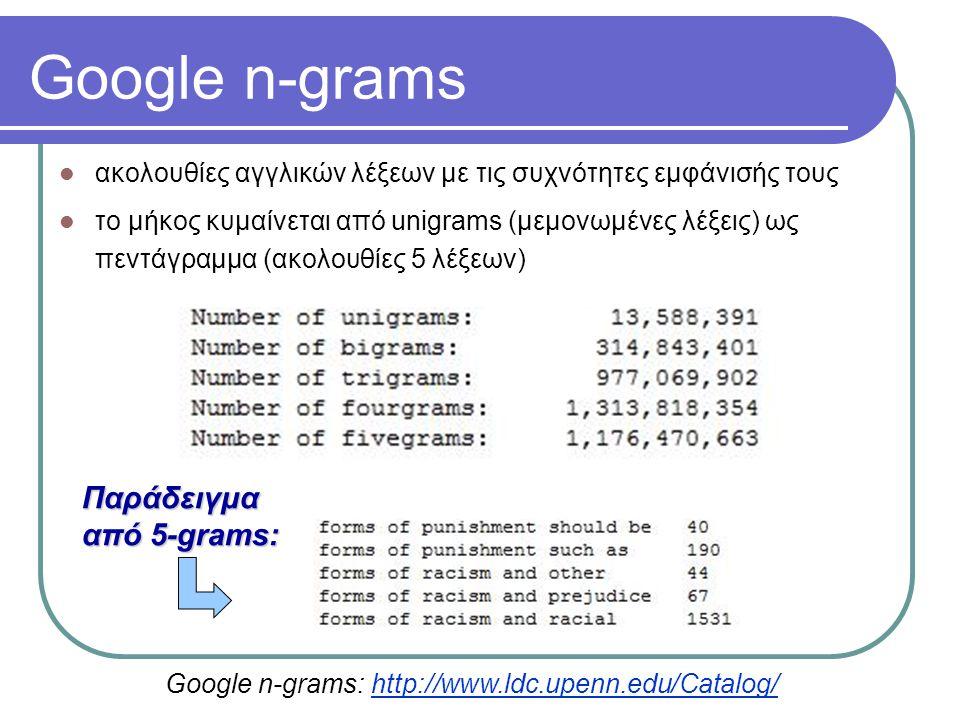 Google n-grams ακολουθίες αγγλικών λέξεων με τις συχνότητες εμφάνισής τους το μήκος κυμαίνεται από unigrams (μεμονωμένες λέξεις) ως πεντάγραμμα (ακολουθίες 5 λέξεων) Παράδειγμα από 5-grams: Google n-grams: http://www.ldc.upenn.edu/Catalog/