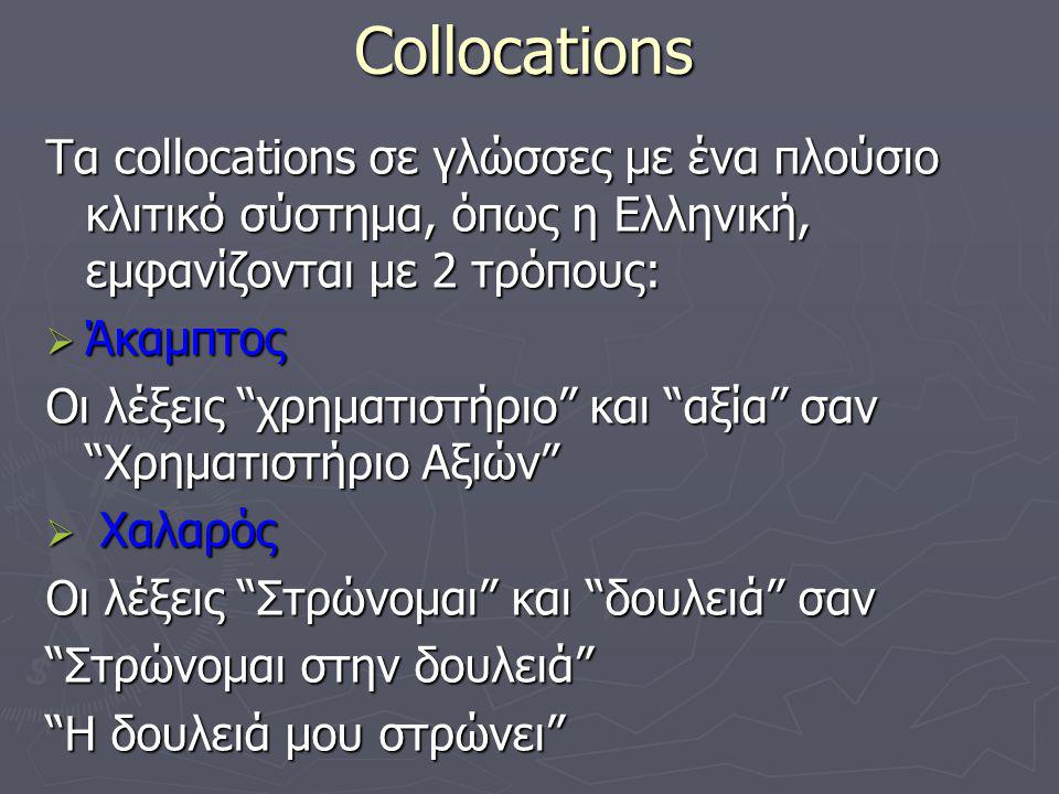 Collocations Για τα Collocation υπάρχουν πολλοί ορισμοί, αφού οι διάφοροι ερευνητές έχουν εστιάσει πάνω σε διαφορετικά χαρακτηριστικά Firth [55] Firth [55] Collocations of a given word are statements of the habitual or customary places of the word Benson και Morton [50] Benson και Morton [50] An arbitrary and recurrent word combination Το recurrent σημαίνει ότι αυτοί οι συνδυασμοί εμφανίζονται συχνά για ένα δεδομένο Context (συμφραζόμενα)