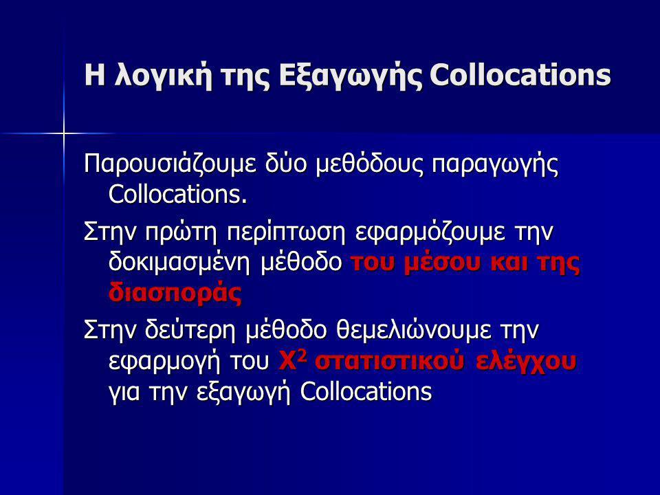 H λογική της Εξαγωγής Collocations Παρουσιάζουμε δύο μεθόδους παραγωγής Collocations.