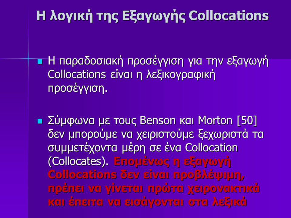 H λογική της Εξαγωγής Collocations Πρόσφατα η στατιστική έχει εφαρμοστεί στην εξαγωγή Collocations O Choueka [52], δοκίμασε να εξαγάγει Collocations χρησιμοποιώντας N-γράμματα (N-grams) συνδυασμούς από 2 έως 4 λέξης χρησιμοποιώντας ένα πολύ απλό κριτήριο την συχνότητα εμφάνισης Ατυχώς η επιλογή αυτή δεν οδηγεί πάντοτε στα καλύτερα αποτελέσματα, π.χ.
