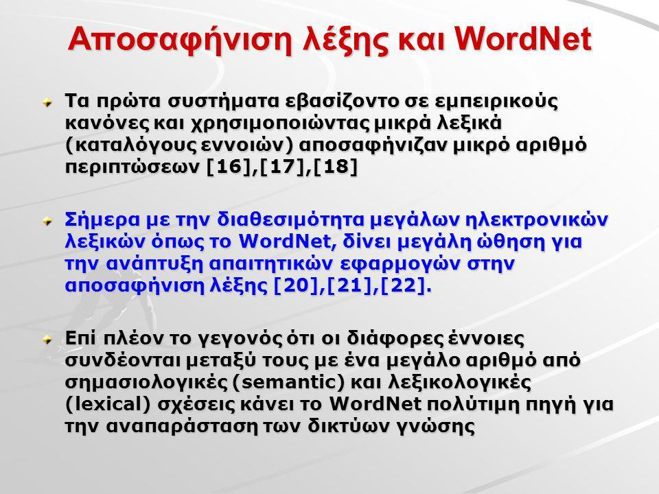 Αποσαφήνιση λέξης και WordNet Τα πρώτα συστήματα εβασίζοντο σε εμπειρικούς κανόνες και χρησιμοποιώντας μικρά λεξικά (καταλόγους εννοιών) αποσαφήνιζαν μικρό αριθμό περιπτώσεων [16],[17],[18] Σήμερα με την διαθεσιμότητα μεγάλων ηλεκτρονικών λεξικών όπως το WordNet, δίνει μεγάλη ώθηση για την ανάπτυξη απαιτητικών εφαρμογών στην αποσαφήνιση λέξης [20],[21],[22].