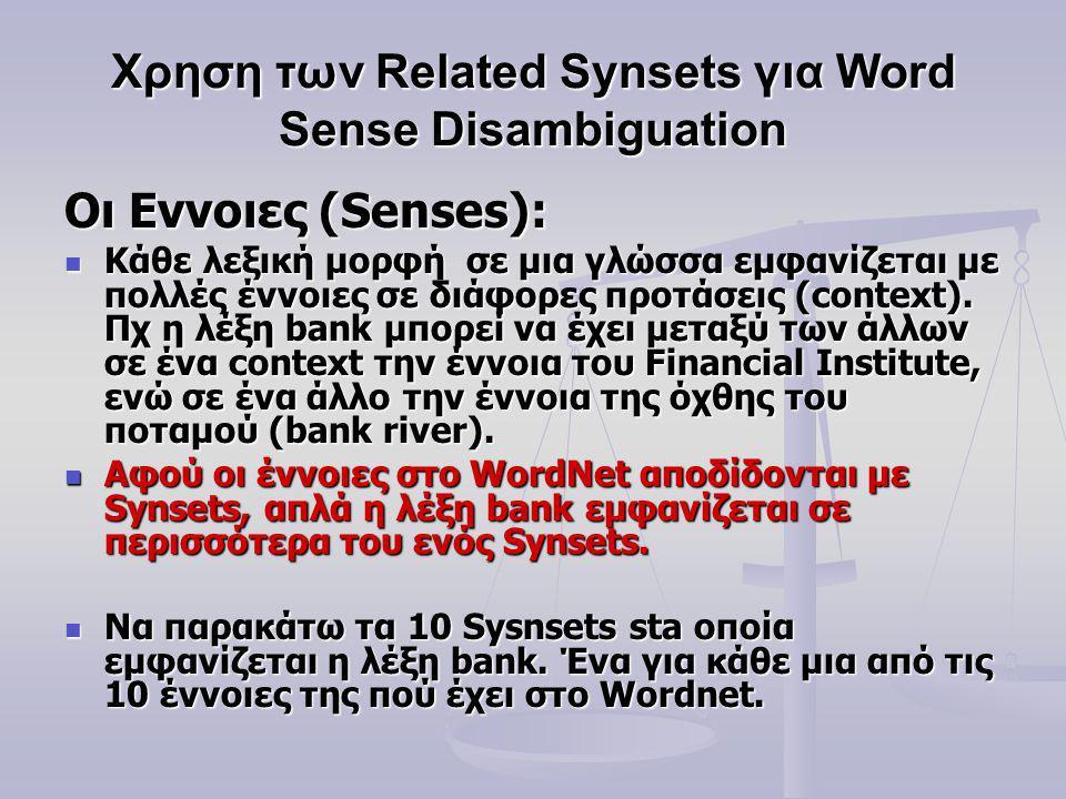 Οι Εννοιες (Senses): Κάθε λεξική μορφή σε μια γλώσσα εμφανίζεται με πολλές έννοιες σε διάφορες προτάσεις (context).