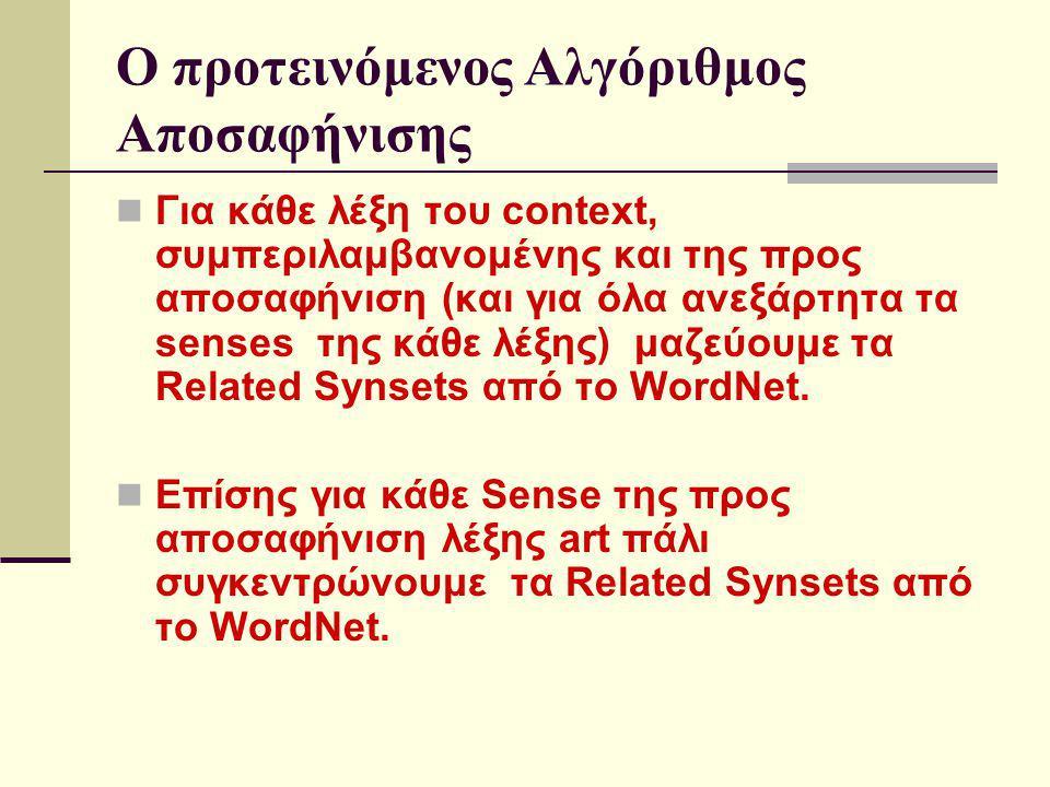 Ο προτεινόμενος Αλγόριθμος Αποσαφήνισης Μελετώντας την κατανομή των Synsets της κάθε έννοιας της προς αποσαφήνιση λέξης μέσα στο context, προσδοκάμε η σωστή έννοια για κάποια συγκεκριμένα χαρακτηριστικά να επιδείξει μια διαφορετική συμπεριφορά Αυτό προσπαθούμε να συλλάβουμε με την βοήθεια του Χ 2 στατιστικού ελέγχου