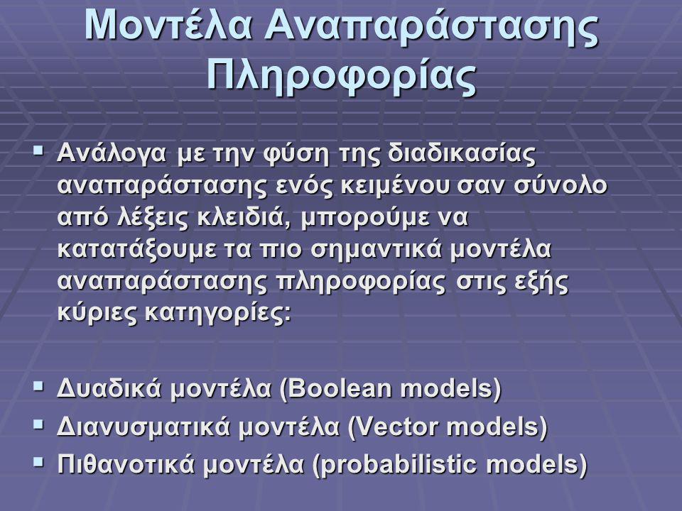 Μοντέλα Αναπαράστασης Πληροφορίας  Ανάλογα με την φύση της διαδικασίας αναπαράστασης ενός κειμένου σαν σύνολο από λέξεις κλειδιά, μπορούμε να κατατάξουμε τα πιο σημαντικά μοντέλα αναπαράστασης πληροφορίας στις εξής κύριες κατηγορίες:  Δυαδικά μοντέλα (Boolean models)  Διανυσματικά μοντέλα (Vector models)  Πιθανοτικά μοντέλα (probabilistic models)