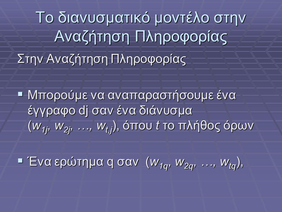 Το διανυσματικό μοντέλο στην Αναζήτηση Πληροφορίας Στην Αναζήτηση Πληροφορίας  Μπορούμε να αναπαραστήσουμε ένα έγγραφο dj σαν ένα διάνυσμα (w 1j, w 2j, …, w t,j ), όπου t το πλήθος όρων  Ένα ερώτημα q σαν (w 1q, w 2q, …, w tq ),