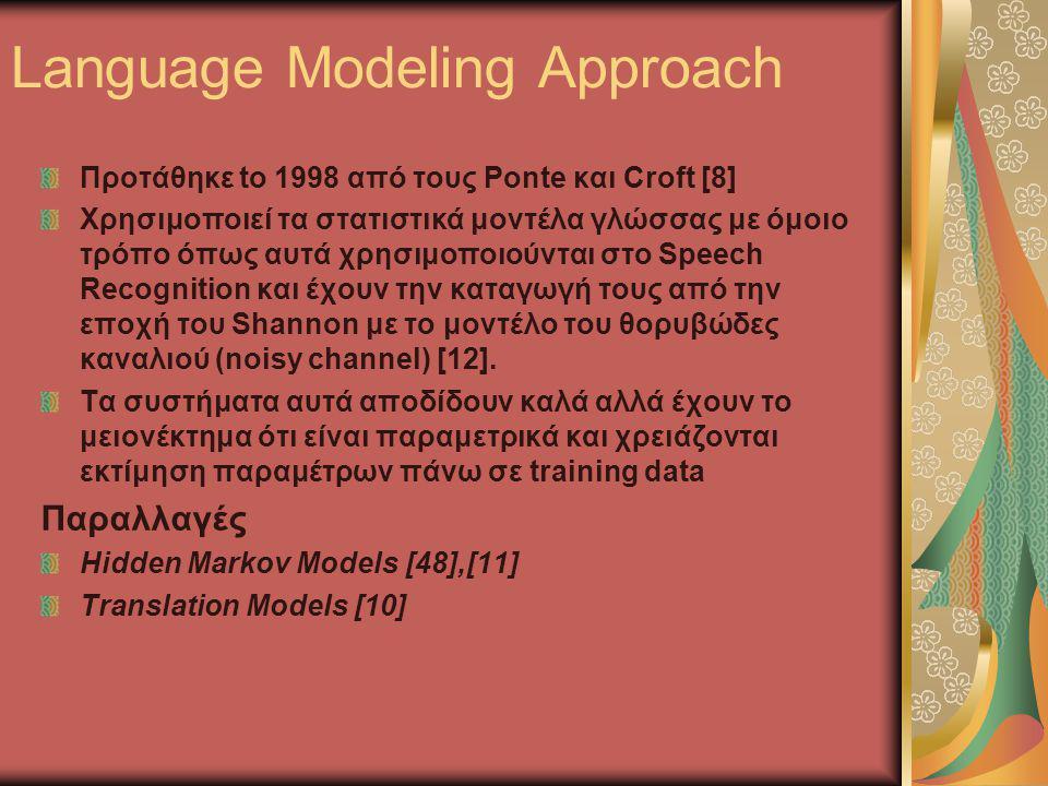 Language Modeling Approach Προτάθηκε to 1998 από τους Ponte και Croft [8] Χρησιμοποιεί τα στατιστικά μοντέλα γλώσσας με όμοιο τρόπο όπως αυτά χρησιμοποιούνται στο Speech Recognition και έχουν την καταγωγή τους από την εποχή του Shannon με το μοντέλο του θορυβώδες καναλιού (noisy channel) [12].