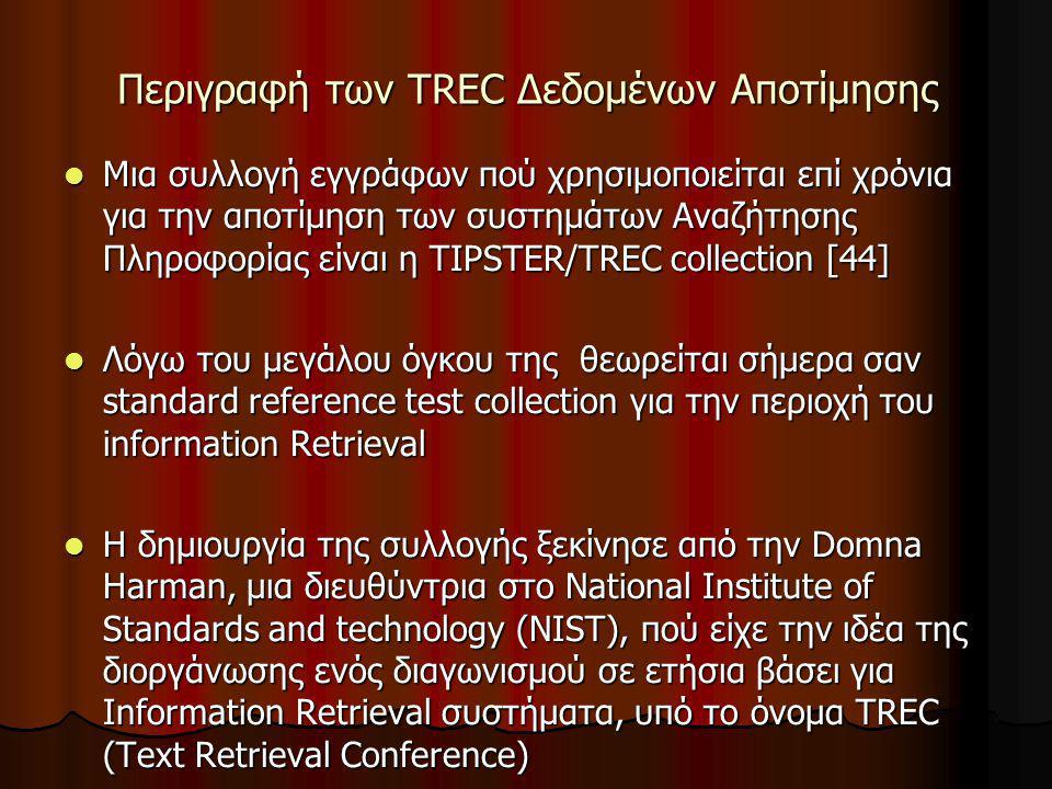 Περιγραφή των TREC Δεδομένων Αποτίμησης Μια συλλογή εγγράφων πού χρησιμοποιείται επί χρόνια για την αποτίμηση των συστημάτων Αναζήτησης Πληροφορίας είναι η TIPSTER/TREC collection [44] Μια συλλογή εγγράφων πού χρησιμοποιείται επί χρόνια για την αποτίμηση των συστημάτων Αναζήτησης Πληροφορίας είναι η TIPSTER/TREC collection [44] Λόγω του μεγάλου όγκου της θεωρείται σήμερα σαν standard reference test collection για την περιοχή του information Retrieval Λόγω του μεγάλου όγκου της θεωρείται σήμερα σαν standard reference test collection για την περιοχή του information Retrieval H δημιουργία της συλλογής ξεκίνησε από την Domna Harman, μια διευθύντρια στο National Institute of Standards and technology (NIST), πού είχε την ιδέα της διοργάνωσης ενός διαγωνισμού σε ετήσια βάσει για Information Retrieval συστήματα, υπό το όνομα TREC (Text Retrieval Conference) H δημιουργία της συλλογής ξεκίνησε από την Domna Harman, μια διευθύντρια στο National Institute of Standards and technology (NIST), πού είχε την ιδέα της διοργάνωσης ενός διαγωνισμού σε ετήσια βάσει για Information Retrieval συστήματα, υπό το όνομα TREC (Text Retrieval Conference)