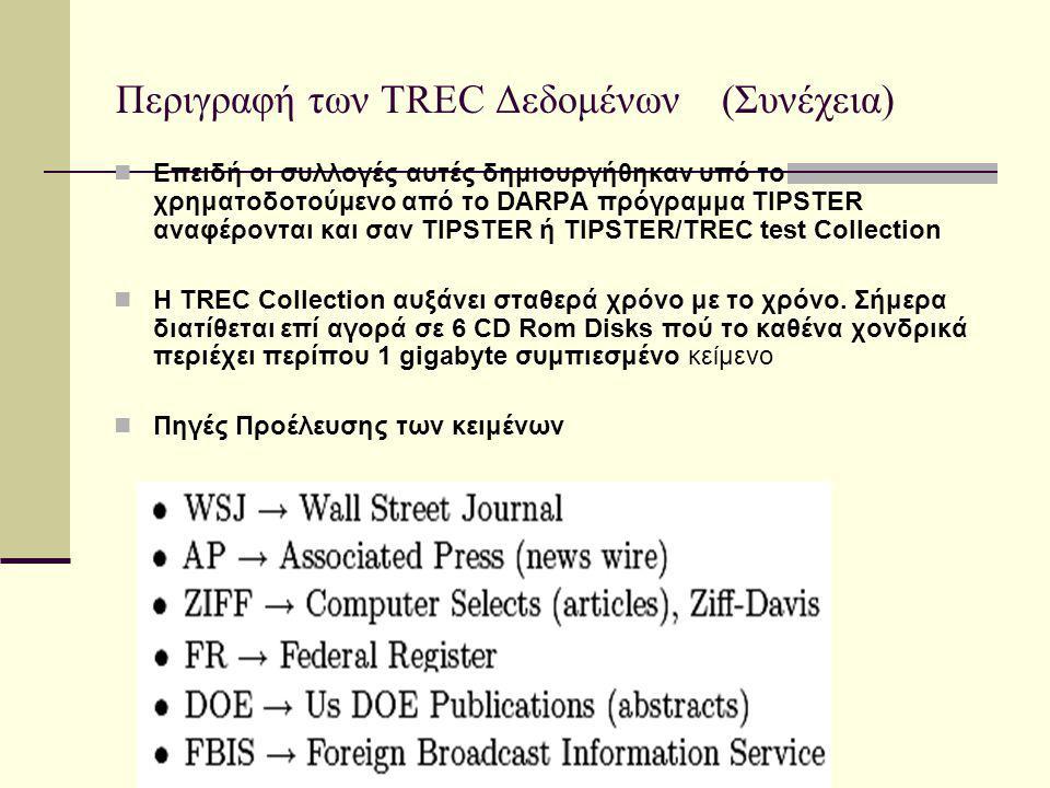 Περιγραφή των TREC Δεδομένων (Συνέχεια) Επειδή οι συλλογές αυτές δημιουργήθηκαν υπό το χρηματοδοτούμενο από το DARPA πρόγραμμα TIPSTER αναφέρονται και σαν TIPSTER ή TIPSTER/TREC test Collection H TREC Collection αυξάνει σταθερά χρόνο με το χρόνο.