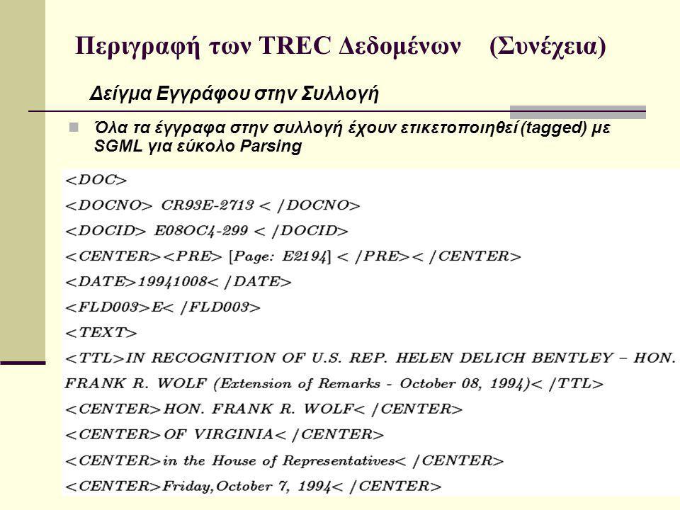 Περιγραφή των TREC Δεδομένων (Συνέχεια) Όλα τα έγγραφα στην συλλογή έχουν ετικετοποιηθεί (tagged) με SGML για εύκολο Parsing Δείγμα Εγγράφου στην Συλλογή