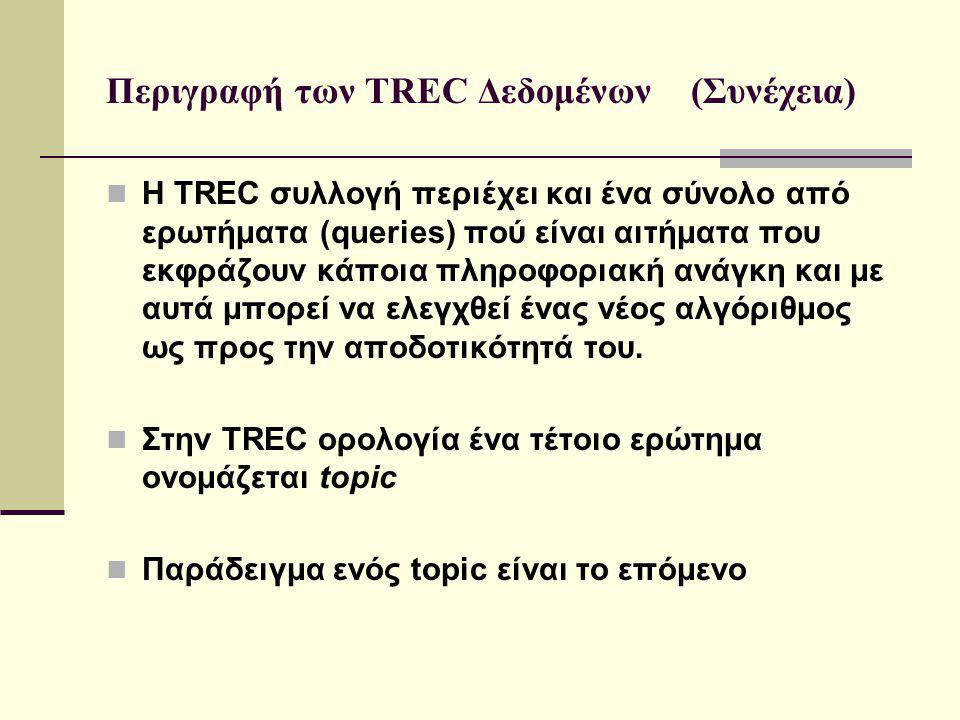 Περιγραφή των TREC Δεδομένων (Συνέχεια) Η TREC συλλογή περιέχει και ένα σύνολο από ερωτήματα (queries) πού είναι αιτήματα που εκφράζουν κάποια πληροφοριακή ανάγκη και με αυτά μπορεί να ελεγχθεί ένας νέος αλγόριθμος ως προς την αποδοτικότητά του.
