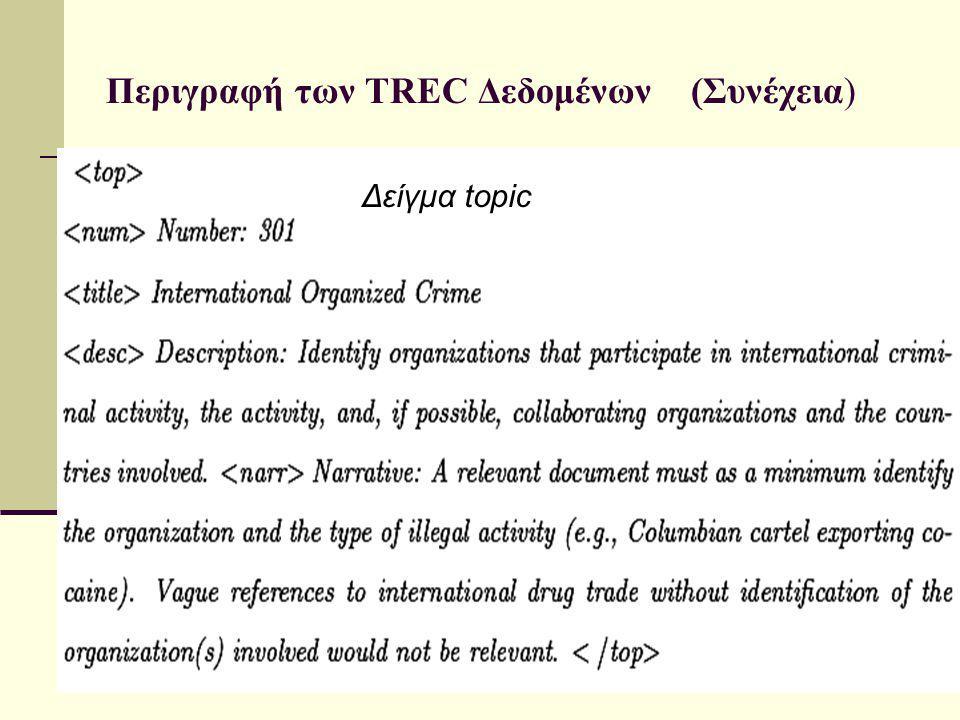 Περιγραφή των TREC Δεδομένων (Συνέχεια) Δείγμα topic
