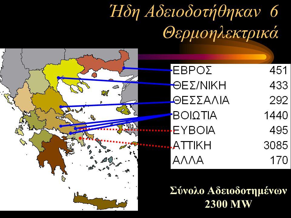 Σύνολο Αδειοδοτημένων 2300 MW Ήδη Αδειοδοτήθηκαν 6 Θερμοηλεκτρικά
