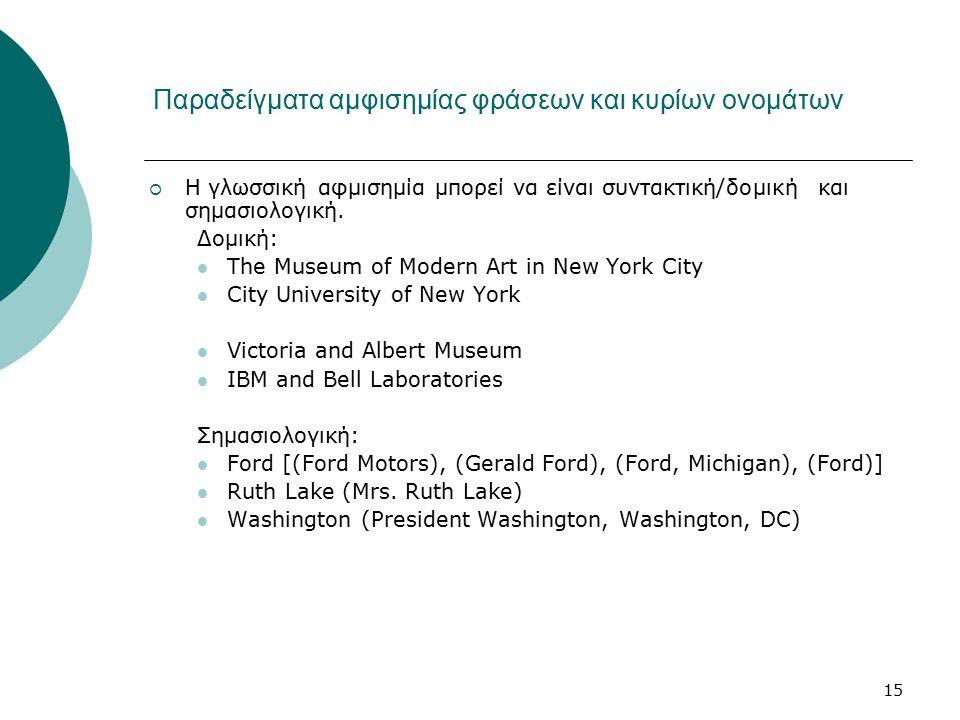 15 Παραδείγματα αμφισημίας φράσεων και κυρίων ονομάτων  Η γλωσσική αφμισημία μπορεί να είναι συντακτική/δομική και σημασιολογική. Δομική: The Museum