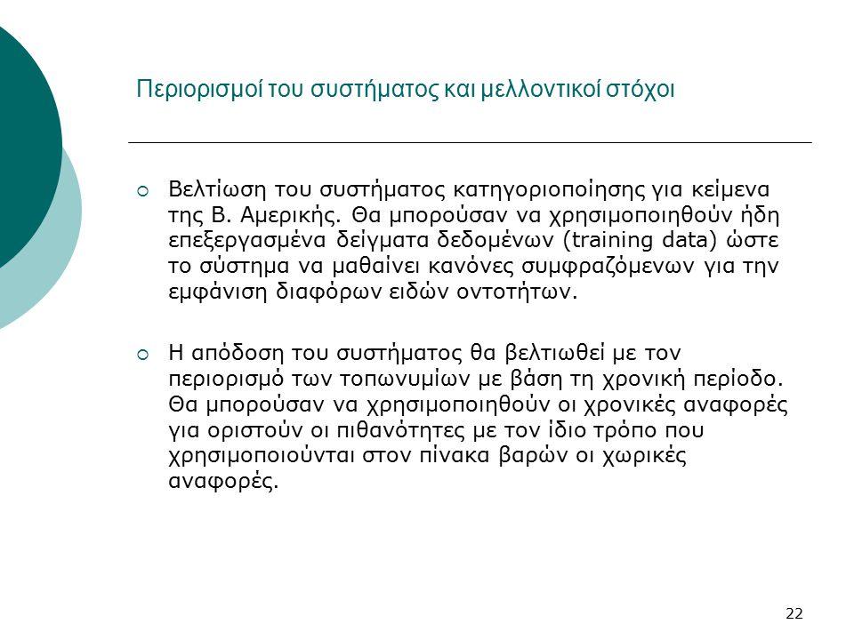 22 Περιορισμοί του συστήματος και μελλοντικοί στόχοι  Βελτίωση του συστήματος κατηγοριοποίησης για κείμενα της Β.