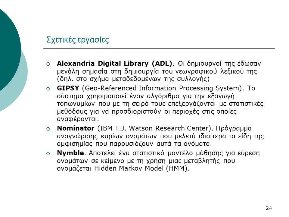 24 Σχετικές εργασίες  Alexandria Digital Library (ADL). Οι δημιουργοί της έδωσαν μεγάλη σημασία στη δημιουργία του γεωγραφικού λεξικού της (δηλ. στο