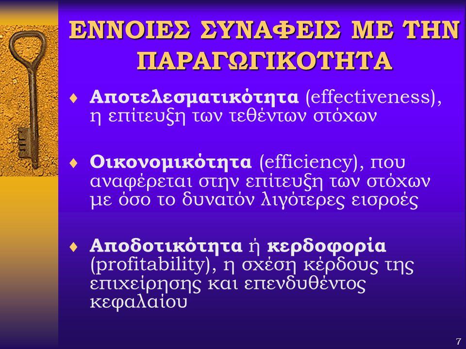7 ΕΝΝΟΙΕΣ ΣΥΝΑΦΕΙΣ ΜΕ ΤΗΝ ΠΑΡΑΓΩΓΙΚΟΤΗΤΑ  Αποτελεσματικότητα (effectiveness), η επίτευξη των τεθέντων στόχων  Οικονομικότητα (efficiency), που αναφέ