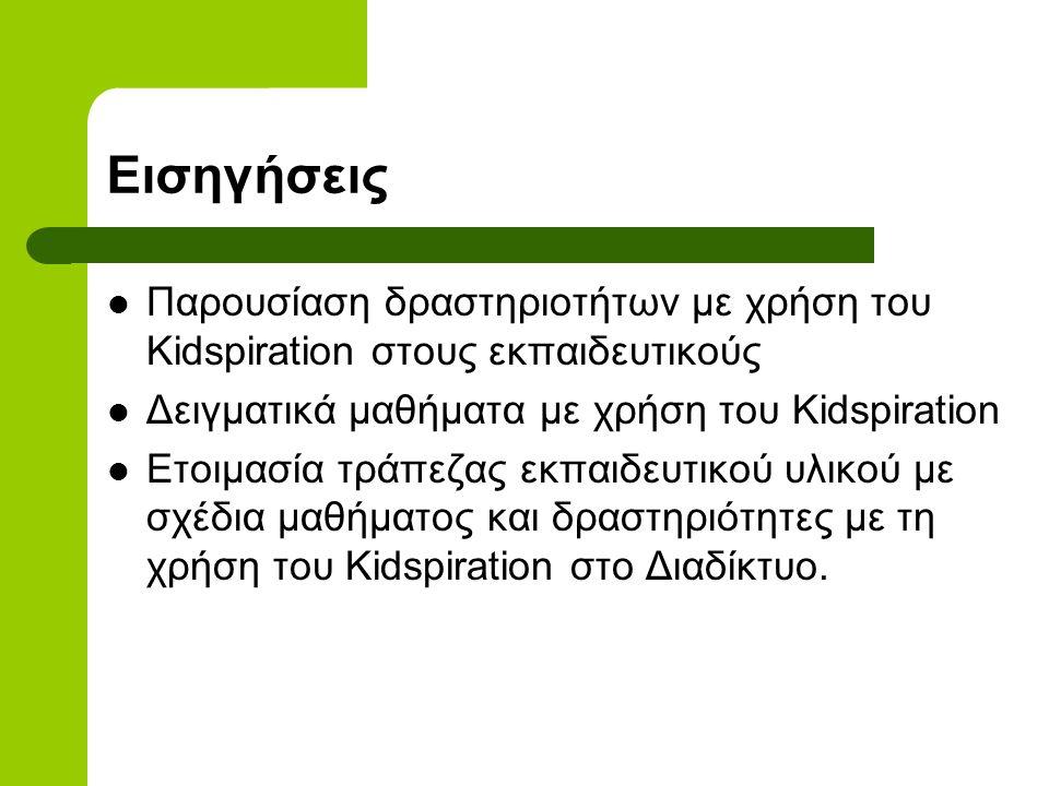 Εισηγήσεις Παρουσίαση δραστηριοτήτων με χρήση του Kidspiration στους εκπαιδευτικούς Δειγματικά μαθήματα με χρήση του Kidspiration Ετοιμασία τράπεζας εκπαιδευτικού υλικού με σχέδια μαθήματος και δραστηριότητες με τη χρήση του Kidspiration στο Διαδίκτυο.