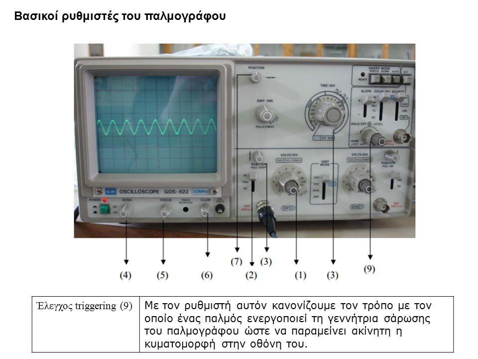 Έλεγχος triggering (9) Με τον ρυθμιστή αυτόν κανονίζουμε τον τρόπο με τον οποίο ένας παλμός ενεργοποιεί τη γεννήτρια σάρωσης του παλμογράφου ώστε να παραμείνει ακίνητη η κυματομορφή στην οθόνη του.