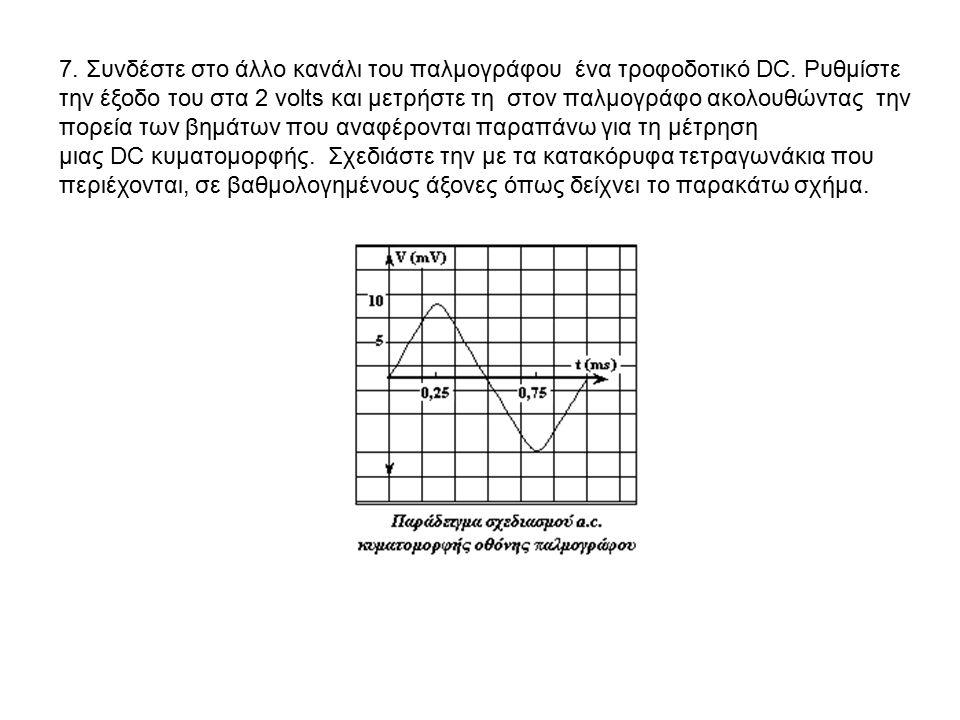 7. Συνδέστε στο άλλο κανάλι του παλμογράφου ένα τροφοδοτικό DC. Ρυθμίστε την έξοδο του στα 2 volts και μετρήστε τη στον παλμογράφο ακολουθώντας την πο