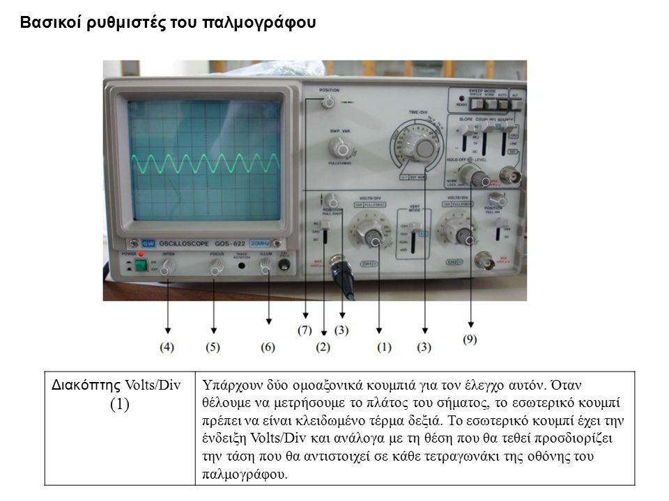 Διακόπτης Volts/Div (1) Υπάρχουν δύο ομοαξονικά κουμπιά για τον έλεγχο αυτόν. Όταν θέλουμε να μετρήσουμε το πλάτος του σήματος, το εσωτερικό κουμπί πρ
