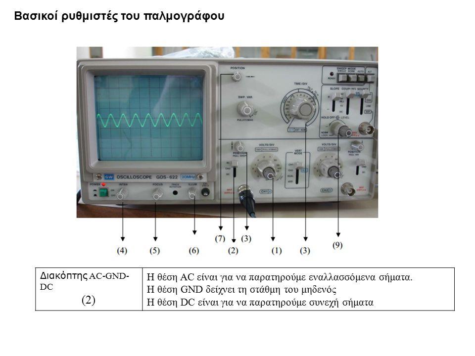 Διακόπτης AC-GND- DC (2) Η θέση AC είναι για να παρατηρούμε εναλλασσόμενα σήματα. Η θέση GND δείχνει τη στάθμη του μηδενός Η θέση DC είναι για να παρα
