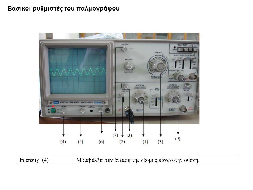 Intensity (4)Μεταβάλλει την ένταση της δέσμης πάνω στην οθόνη. Βασικοί ρυθμιστές του παλμογράφου