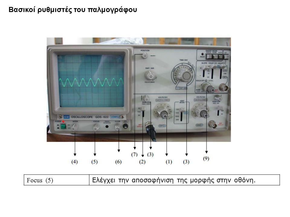 Focus (5) Ελέγχει την αποσαφήνιση της μορφής στην οθόνη. Βασικοί ρυθμιστές του παλμογράφου