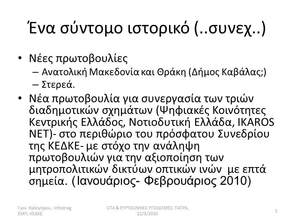 Ένα σύντομο ιστορικό (..συνεχ..) Νέες πρωτοβουλίες – Ανατολική Μακεδονία και Θράκη (Δήμος Καβάλας;) – Στερεά.