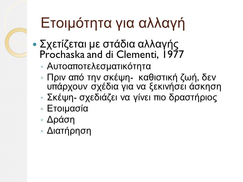 Ετοιμότητα για αλλαγή Σχετίζεται με στάδια αλλαγής Prochaska and di Clementi, 1977 ◦ Αυτοα π οτελεσματικότητα ◦ Πριν α π ό την σκέψη - καθιστική ζωή, δεν υ π άρχουν σχέδια για να ξεκινήσει άσκηση ◦ Σκέψη - σχεδιάζει να γίνει π ιο δραστήριος ◦ Ετοιμασία ◦ Δράση ◦ Διατήρηση