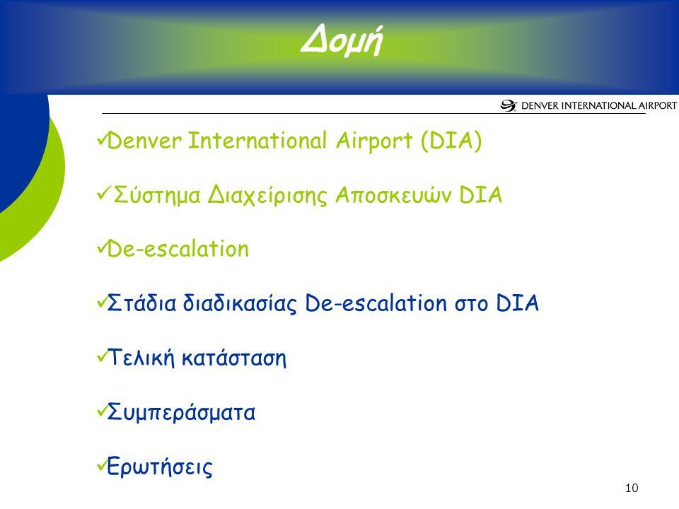 10 Denver International Airport (DIA) Σύστημα Διαχείρισης Αποσκευών DIA De-escalation Στάδια διαδικασίας De-escalation στο DIA Τελική κατάσταση Συμπεράσματα Ερωτήσεις Δομή