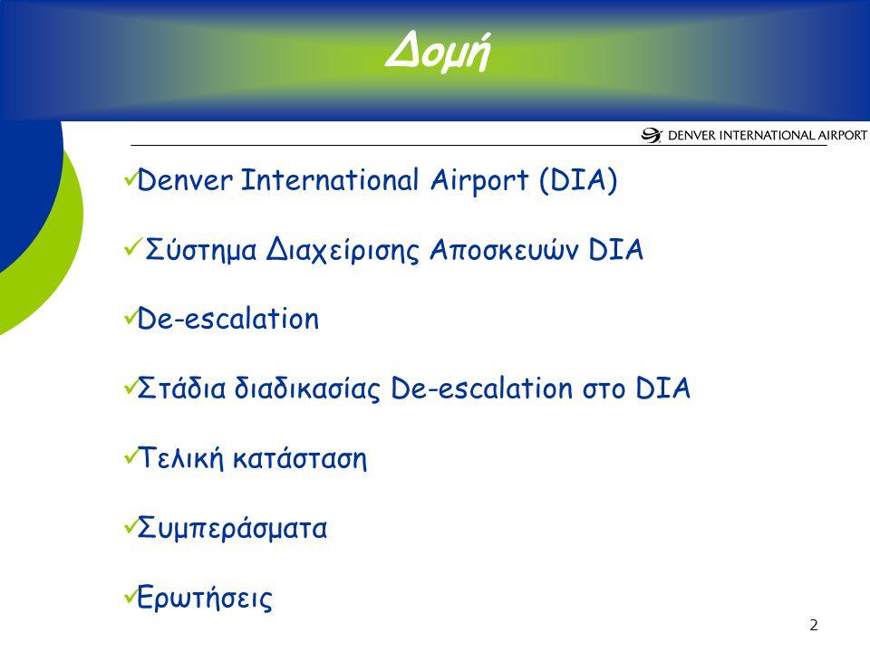 2 Denver International Airport (DIA) Σύστημα Διαχείρισης Αποσκευών DIA De-escalation Στάδια διαδικασίας De-escalation στο DIA Τελική κατάσταση Συμπεράσματα Ερωτήσεις Δομή