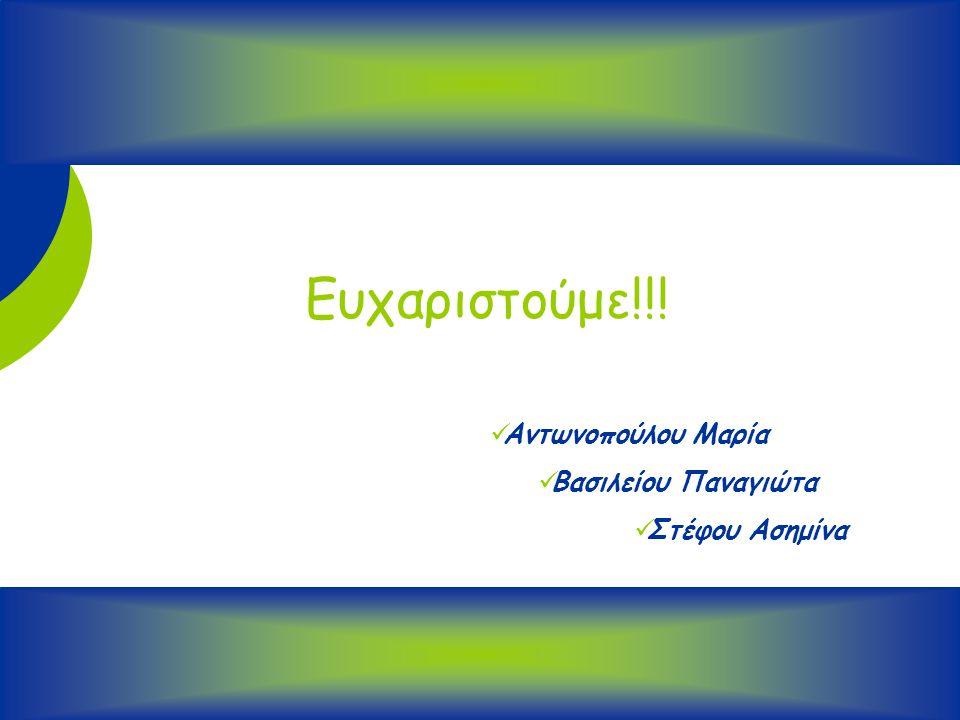 32 Ευχαριστούμε!!! Αντωνοπούλου Μαρία Βασιλείου Παναγιώτα Στέφου Ασημίνα