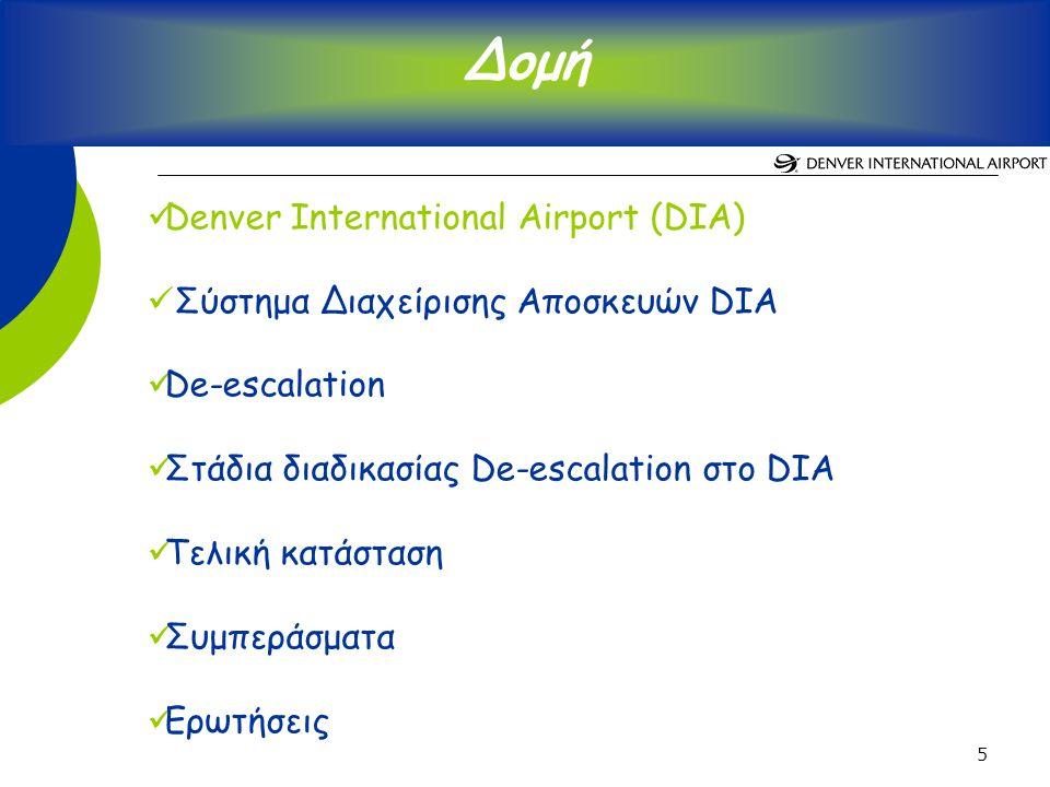 5 Denver International Airport (DIA) Σύστημα Διαχείρισης Αποσκευών DIA De-escalation Στάδια διαδικασίας De-escalation στο DIA Τελική κατάσταση Συμπεράσματα Ερωτήσεις Δομή