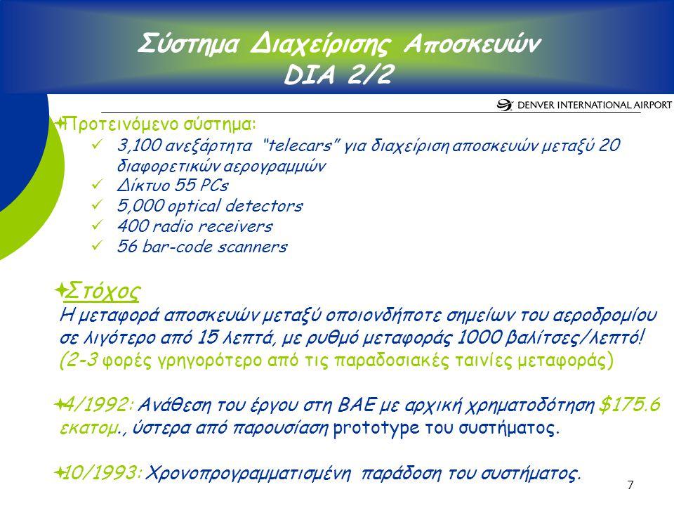 7 Σύστημα Διαχείρισης Αποσκευών DIA 2/2  Προτεινόμενο σύστημα: 3,100 ανεξάρτητα telecars για διαχείριση αποσκευών μεταξύ 20 διαφορετικών αερογραμμών Δίκτυο 55 PCs 5,000 optical detectors 400 radio receivers 56 bar-code scanners  Στόχος Η μεταφορά αποσκευών μεταξύ οποιονδήποτε σημείων του αεροδρομίου σε λιγότερο από 15 λεπτά, με ρυθμό μεταφοράς 1000 βαλίτσες/λεπτό.