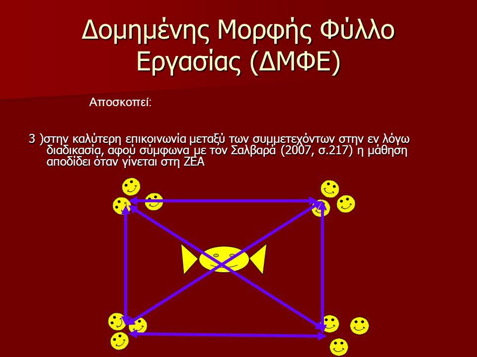 Δομημένης Μορφής Φύλλο Εργασίας (ΔΜΦΕ) 3 )στην καλύτερη επικοινωνία μεταξύ των συμμετεχόντων στην εν λόγω διαδικασία, αφού σύμφωνα με τον Σαλβαρά (2007, σ.217) η μάθηση αποδίδει όταν γίνεται στη ΖΕΑ Αποσκοπεί: