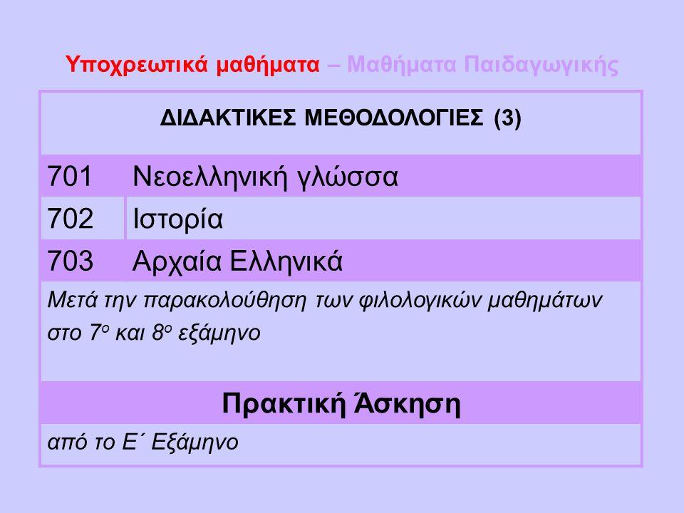 Υποχρεωτικά μαθήματα – Μαθήματα Παιδαγωγικής ΔΙΔΑΚΤΙΚΕΣ ΜΕΘΟΔΟΛΟΓΙΕΣ (3) 701Νεοελληνική γλώσσα 702Ιστορία 703Αρχαία Ελληνικά Μετά την παρακολούθηση τω