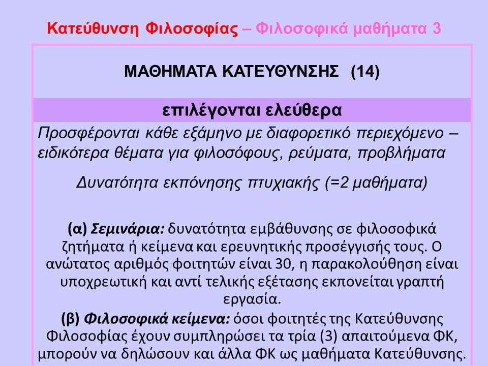 Κατεύθυνση Φιλοσοφίας – Φιλοσοφικά μαθήματα 3 ΜΑΘΗΜΑΤΑ ΚΑΤΕΥΘΥΝΣΗΣ (14) επιλέγονται ελεύθερα Προσφέρονται κάθε εξάμηνο με διαφορετικό περιεχόμενο – ει