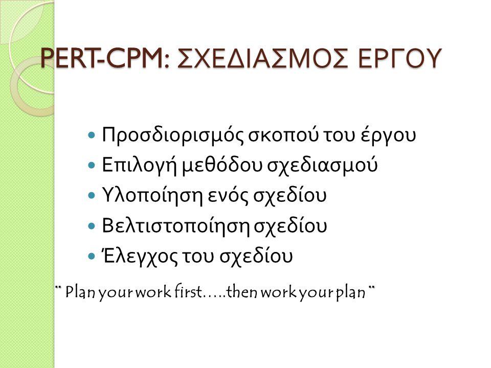 PERT-CPM: ΣΧΕΔΙΑΣΜΟΣ ΕΡΓΟΥ Προσδιορισμός σκοπού του έργου Επιλογή μεθόδου σχεδιασμού Υλοποίηση ενός σχεδίου Βελτιστοποίηση σχεδίου Έλεγχος του σχεδίου