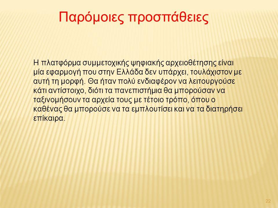 22 Η πλατφόρμα συμμετοχικής ψηφιακής αρχειοθέτησης είναι μία εφαρμογή που στην Ελλάδα δεν υπάρχει, τουλάχιστον με αυτή τη μορφή.
