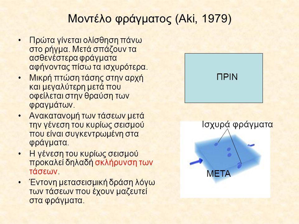 Μοντέλο φράγματος (Aki, 1979) Πρώτα γίνεται ολίσθηση πάνω στο ρήγμα. Μετά σπάζουν τα ασθενέστερα φράγματα αφήνοντας πίσω τα ισχυρότερα. Μικρή πτώση τά