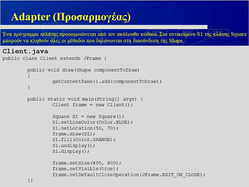Adapter (Προσαρμογέας) Ένα πρόγραμμα πελάτης προσομοιώνεται από τον ακόλουθο κώδικα. Στο αντικείμενο S1 της κλάσης Square μπορούν να κληθούν όλες οι μ