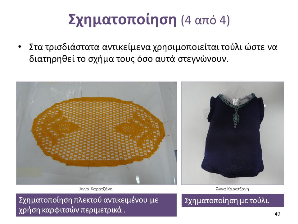 Σχηματοποίηση (4 από 4) Στα τρισδιάστατα αντικείμενα χρησιμοποιείται τούλι ώστε να διατηρηθεί το σχήμα τους όσο αυτά στεγνώνουν. Σχηματοποίηση πλεκτού