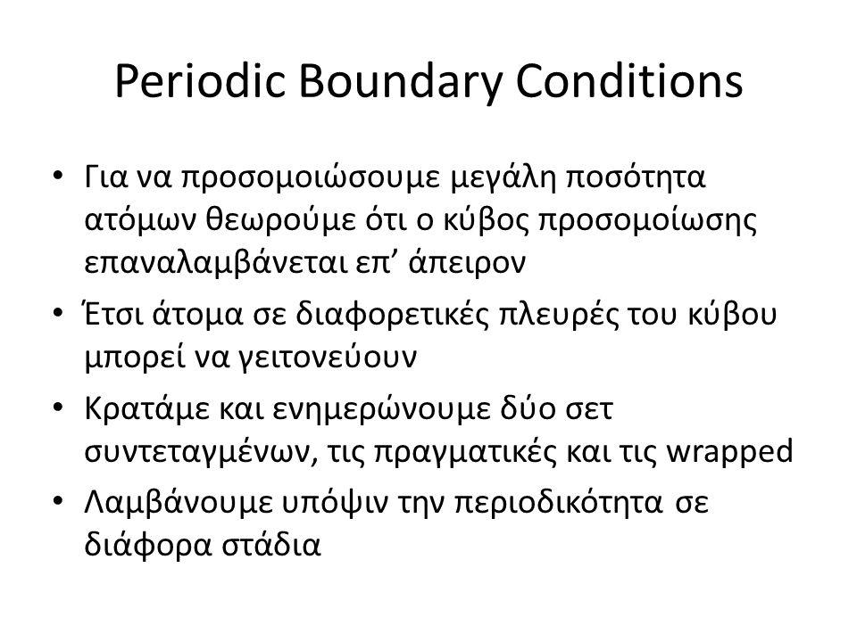 Periodic Boundary Conditions Για να προσομοιώσουμε μεγάλη ποσότητα ατόμων θεωρούμε ότι ο κύβος προσομοίωσης επαναλαμβάνεται επ' άπειρον Έτσι άτομα σε διαφορετικές πλευρές του κύβου μπορεί να γειτονεύουν Κρατάμε και ενημερώνουμε δύο σετ συντεταγμένων, τις πραγματικές και τις wrapped Λαμβάνουμε υπόψιν την περιοδικότητα σε διάφορα στάδια