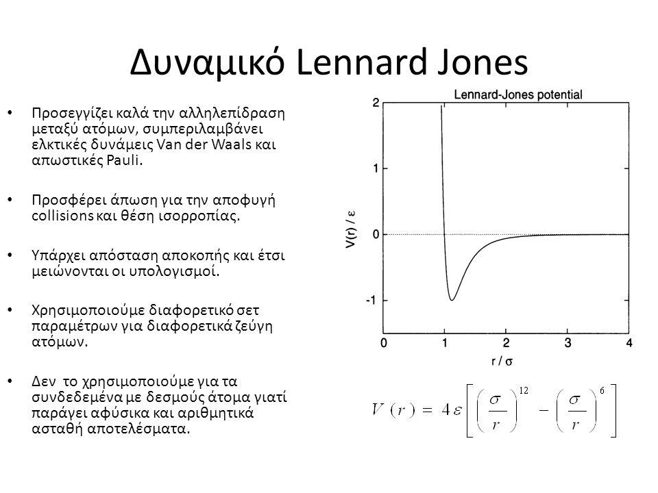 Δυναμικό Lennard Jones Προσεγγίζει καλά την αλληλεπίδραση μεταξύ ατόμων, συμπεριλαμβάνει ελκτικές δυνάμεις Van der Waals και απωστικές Pauli. Προσφέρε