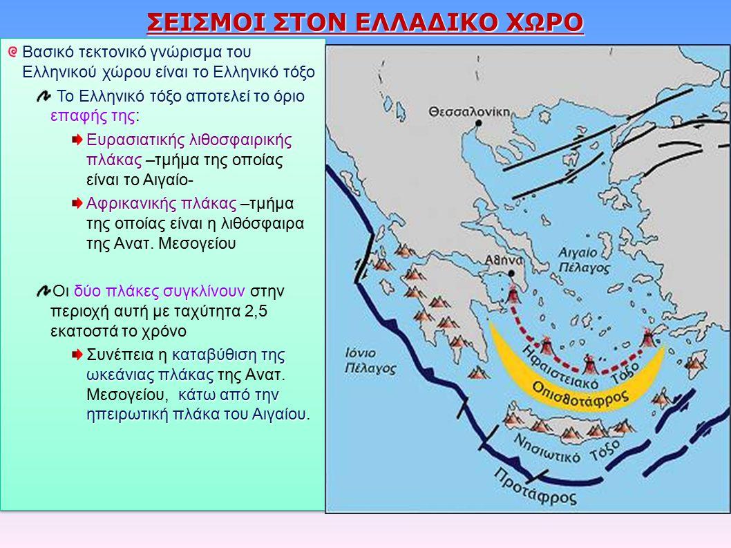 ΣΕΙΣΜΟΙ ΣΤΟΝ ΕΛΛΑΔΙΚΟ ΧΩΡΟ Βασικό τεκτονικό γνώρισμα του Ελληνικού χώρου είναι το Ελληνικό τόξο Ελληνικό τόξοόριο επαφής της Το Ελληνικό τόξο αποτελεί