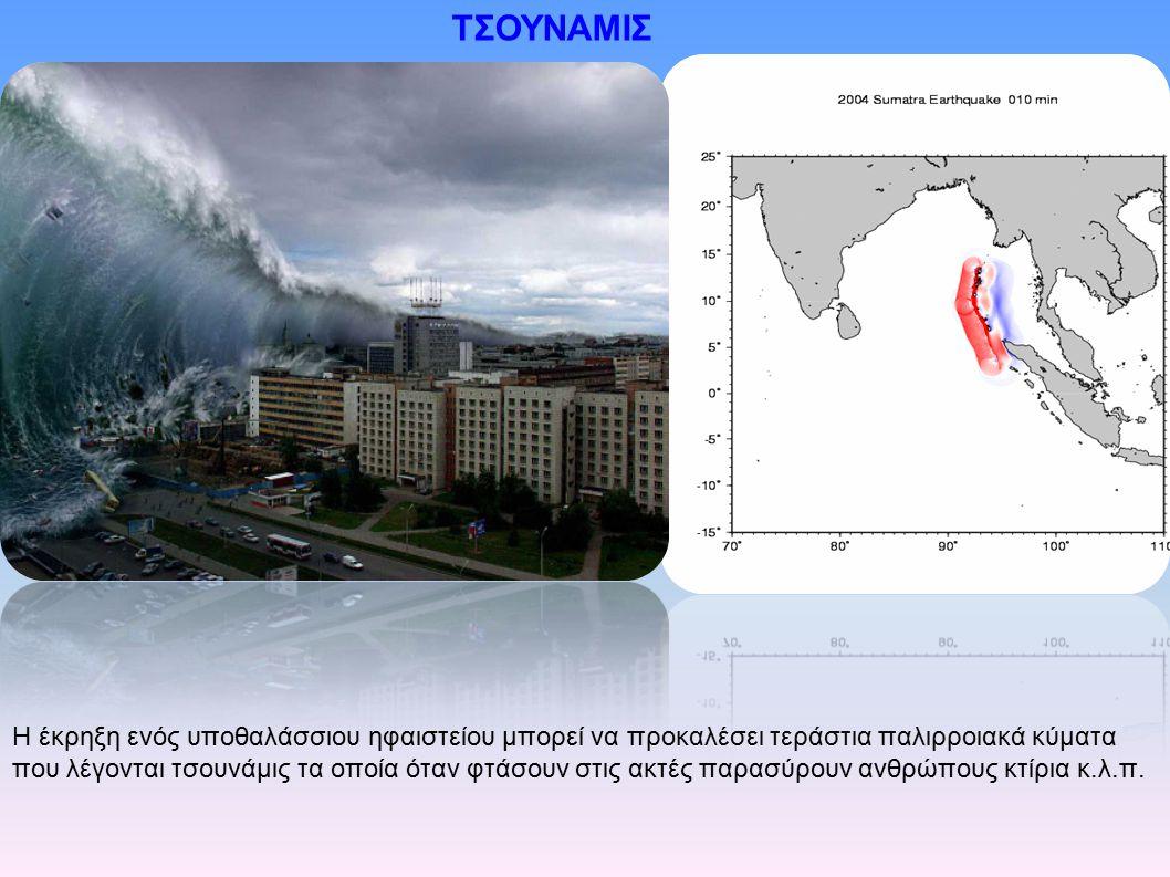Η έκρηξη ενός υποθαλάσσιου ηφαιστείου μπορεί να προκαλέσει τεράστια παλιρροιακά κύματα που λέγονται τσουνάμις τα οποία όταν φτάσουν στις ακτές παρασύρ