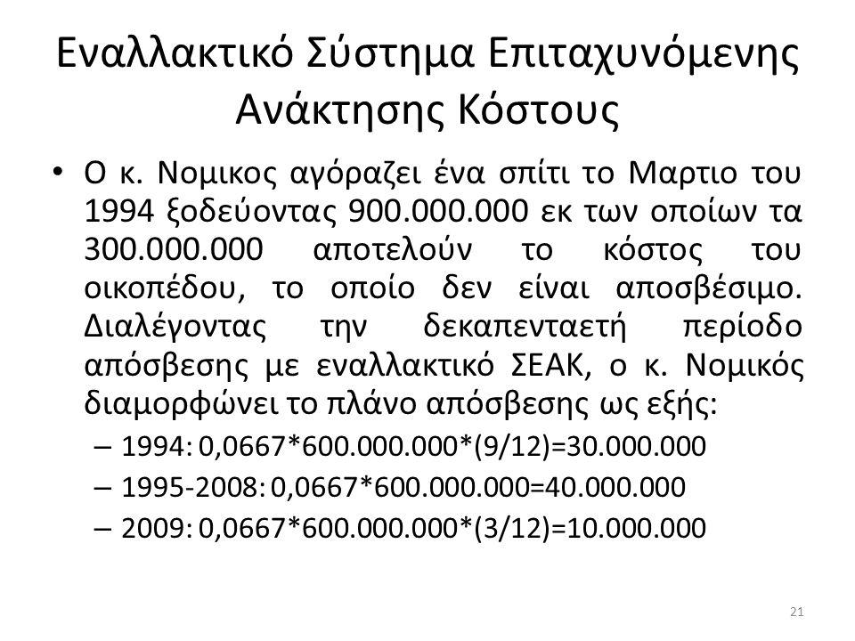Εναλλακτικό Σύστημα Επιταχυνόμενης Ανάκτησης Κόστους Ο κ. Νομικος αγόραζει ένα σπίτι το Μαρτιο του 1994 ξοδεύοντας 900.000.000 εκ των οποίων τα 300.00