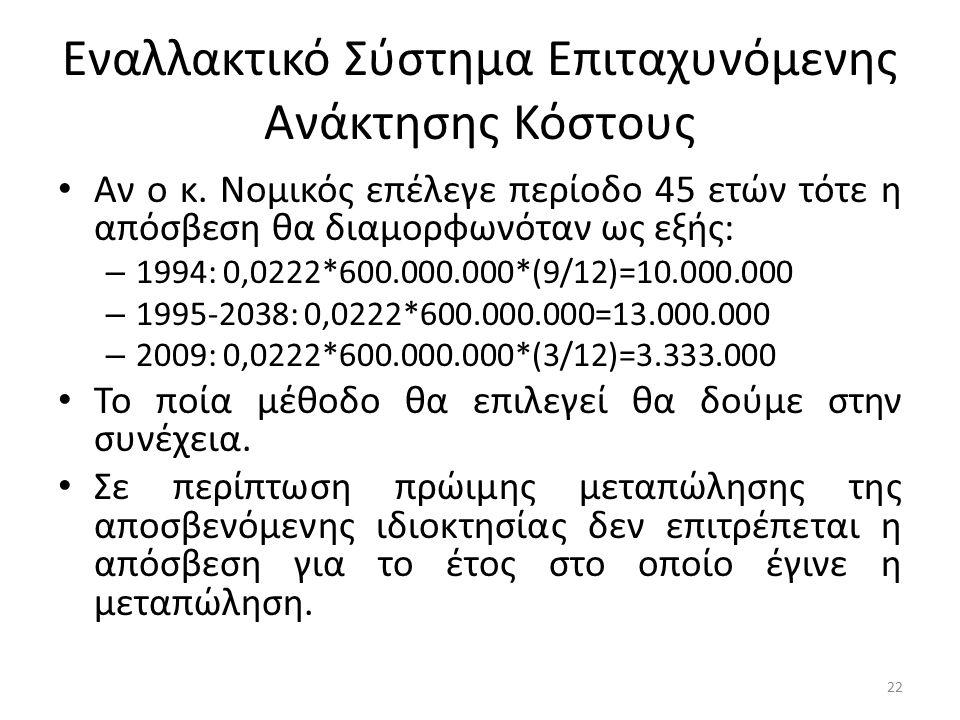 Εναλλακτικό Σύστημα Επιταχυνόμενης Ανάκτησης Κόστους Αν ο κ. Νομικός επέλεγε περίοδο 45 ετών τότε η απόσβεση θα διαμορφωνόταν ως εξής: – 1994: 0,0222*